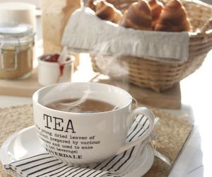 tea, breakfast, and croissant image
