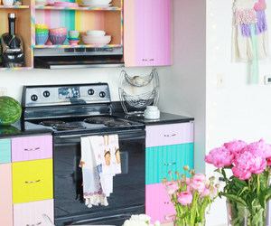 cabinets, colorful, and decor image