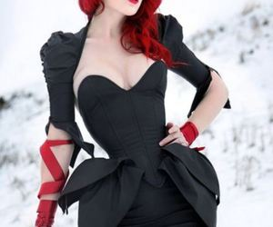 red hair, dress, and black image