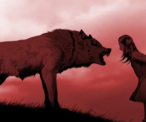 wolf, art, and girl image