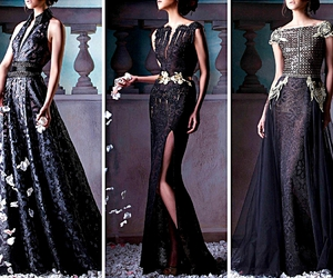 dress, gown, and black image