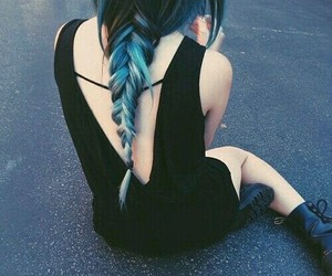 blue, hairstyle, and bluehair image