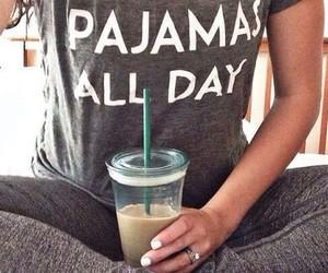 pajamas, style, and coffee image