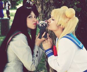 sailor moon, rei hino cosplay, and usagi tsukino image