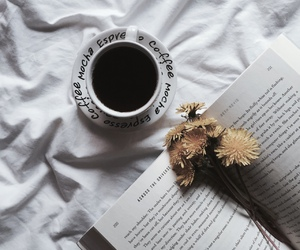 book, flowers, and coffe image