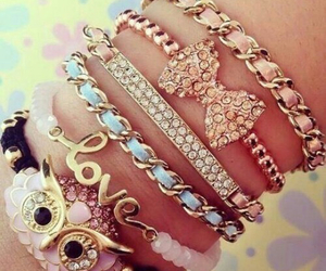 love, bracelet, and owl image