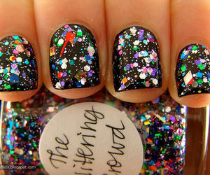 nails, glitter, and black image
