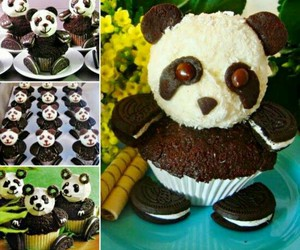 panda, cupcake, and food image
