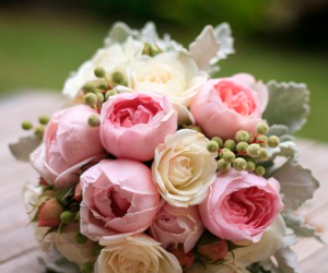 flower, pink, and wedding image