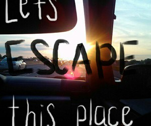 escape, car, and text image