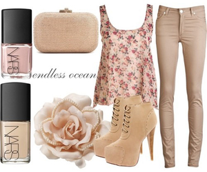 outfit, flowers, and nail polish image