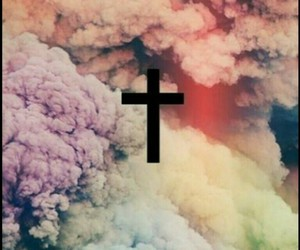 cross, clouds, and smoke image