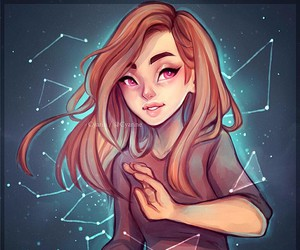 girl, art, and constellation image