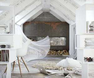 white, interior, and wood image