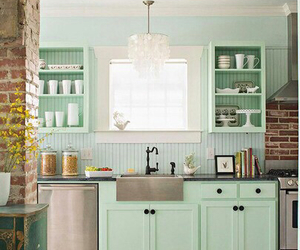 kitchen, green, and home image