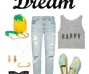 outfit, pineapple, and Polyvore image