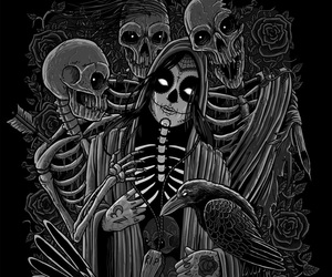 black and white, dark art, and dia de los muertos image
