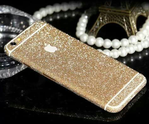 iphone, gold, and glitter image