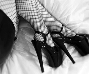 black and white, high heels, and boots image