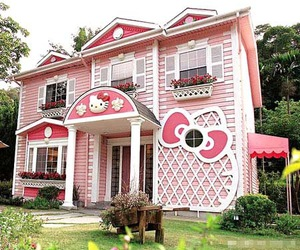 hello kitty, pink, and house image