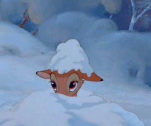 bambi, disney, and snow image