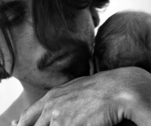 johnny depp, baby, and black and white image