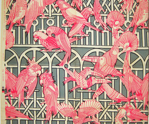 pink, birds, and fabric image