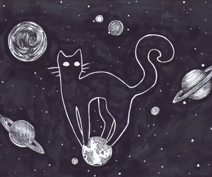 cat, planet, and space image