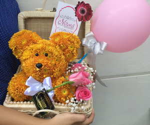 bear, teddy, and flower image