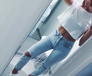 sixpack, iphone mirror selfie, and high waisted ripped jeans image