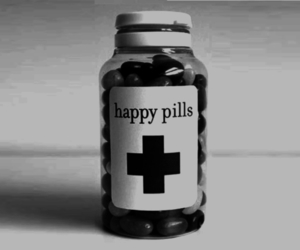 pills, happy, and happy pills image