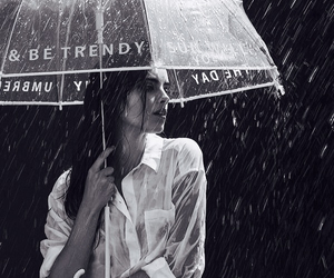 black and white, model, and rain image