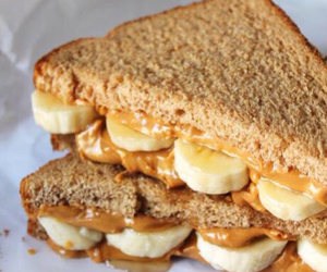 food, banana, and peanut butter image
