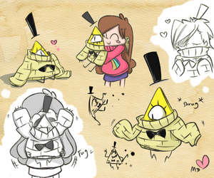 gravity falls, mabel pines, and bill cipher image