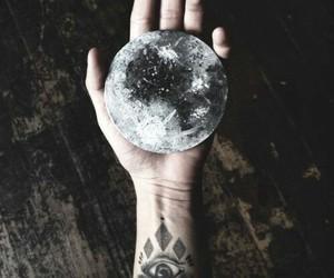 moon, tattoo, and hand image