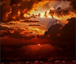 clouds, sunset, and sun image
