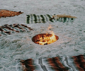 beach, fire, and summer image