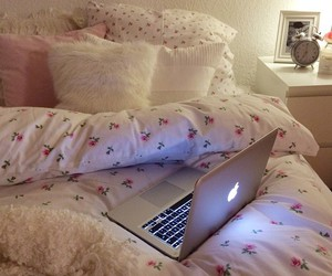 bed, room, and laptop image