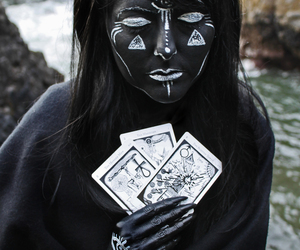 black and white, seer, and tarot image