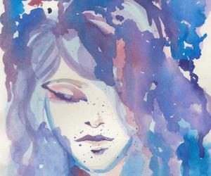 art, eyes, and purple image
