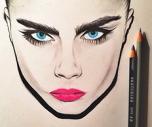 cara, draw, and delevingne image