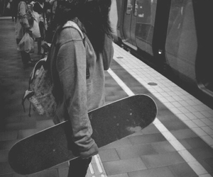 girl, skate, and black and white image