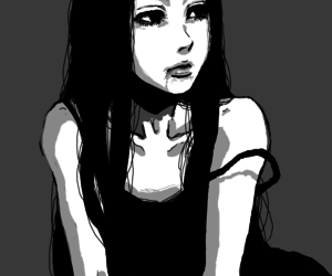 anime girl, art, and black and white image