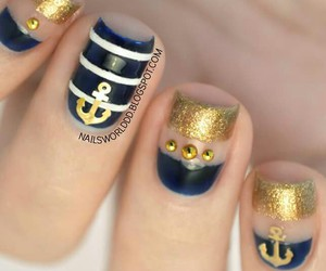 blue, gold, and nails image