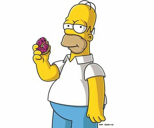 donut, homer, and the simpsons image