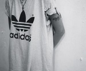 adidas, tattoo, and black and white image
