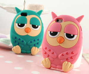 owl, case, and pink image