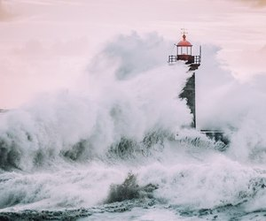 ocean, waves, and lighthouse image