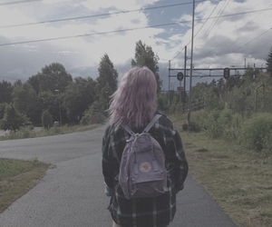 backpack, girl, and hair image