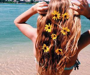 beach, fruit, and girl image